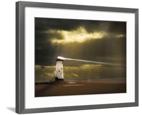 Lighthouse in a Storm with Beam Shining to Sea- meirion-Framed Art Print