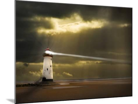 Lighthouse in a Storm with Beam Shining to Sea- meirion-Mounted Photographic Print