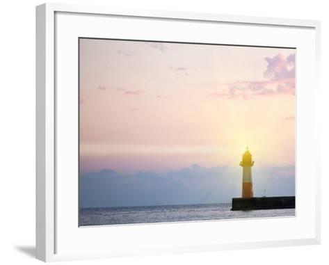 Lighthouse Light at Sunset-Alexander Potapov-Framed Art Print