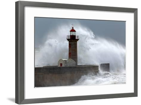 Huge Wave over Lighthouse-Zacarias da Mata-Framed Art Print