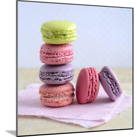 Colored Macaroons on a Platter-Sonia Chatelain-Mounted Photographic Print