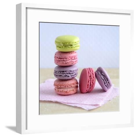 Colored Macaroons on a Platter-Sonia Chatelain-Framed Art Print