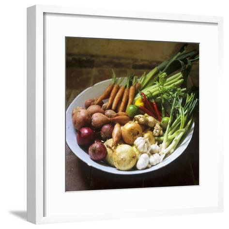A Bowl of Vegetables, Citrus Fruits and Spices-Tara Fisher-Framed Art Print
