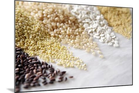 Grain Still Life: Brown Rice, Millet, Rice, Pearl Barley, Amaranth- Amana Images Inc.-Mounted Photographic Print