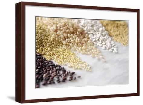 Grain Still Life: Brown Rice, Millet, Rice, Pearl Barley, Amaranth- Amana Images Inc.-Framed Art Print