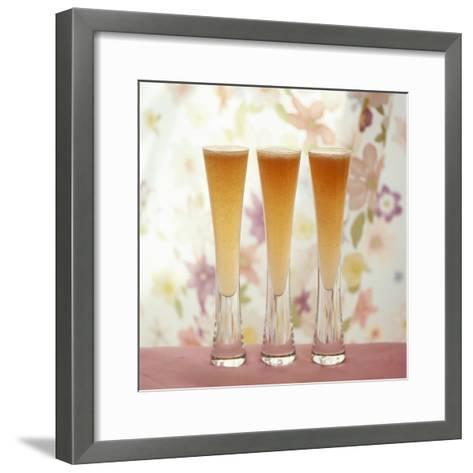 Three Glasses of Bellini (Sparkling Wine with Peach Juice)-Michael Paul-Framed Art Print
