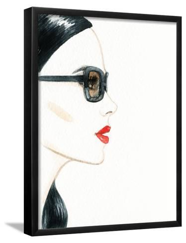 Woman Face with Glasses. Fashion Illustration-Anna Ismagilova-Framed Art Print