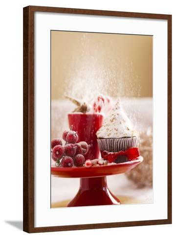 A Christmas Cupcakes in an Icing Sugar Snowstorm-Rogério Voltan-Framed Art Print