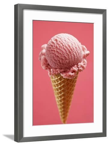 Strawberry Ice Cream Cone-Marc O^ Finley-Framed Art Print