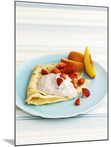 Pancakes with Fruit and Yoghurt Sauce-Gareth Morgans-Mounted Photographic Print
