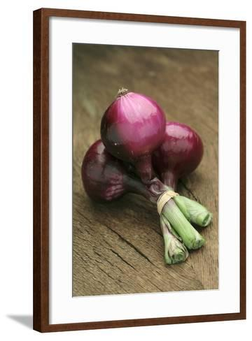 Three Red Onions on Wooden Background-Vladimir Shulevsky-Framed Art Print