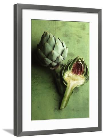 A Whole and a Half Artichoke on Green Background-Studio DHS-Framed Art Print