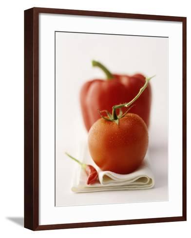 A Still Life Featuring a Red Pepper, a Tomato and a Red Chilli-Michael Wissing-Framed Art Print