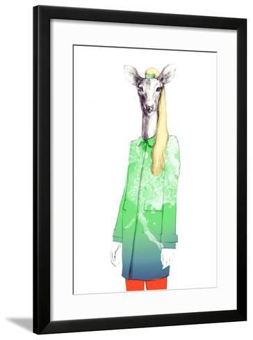 Fashion Animal .Watercolor Illustration-Anna Ismagilova-Framed Art Print
