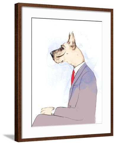 Business Dog . Fashion Animal Watercolor Illustration-Anna Ismagilova-Framed Art Print