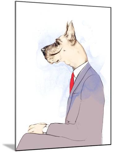 Business Dog . Fashion Animal Watercolor Illustration-Anna Ismagilova-Mounted Photographic Print