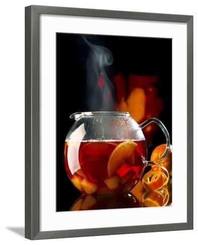 Steaming Red Wine Punch with Pieces of Fruit in Glass Teapot-J?rgen Klemme-Framed Art Print