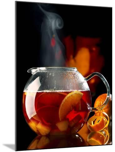 Steaming Red Wine Punch with Pieces of Fruit in Glass Teapot-J?rgen Klemme-Mounted Photographic Print