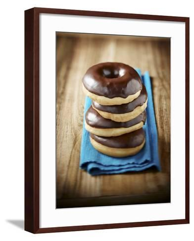 Four Doughnuts with Chocolate Glaze, Stacked-Michael L?ffler-Framed Art Print