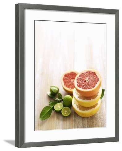 Halved Grapefruits and Limes-Louise Lister-Framed Art Print