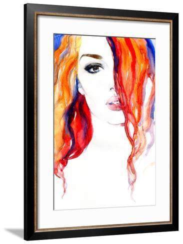 Woman Portrait .Abstract Watercolor .Fashion Background-Anna Ismagilova-Framed Art Print