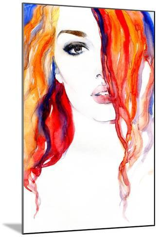 Woman Portrait .Abstract Watercolor .Fashion Background-Anna Ismagilova-Mounted Photographic Print