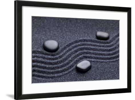 Zen Garden with a Wave Lines in the Sand with Iregular and Relax-iLight photo-Framed Art Print