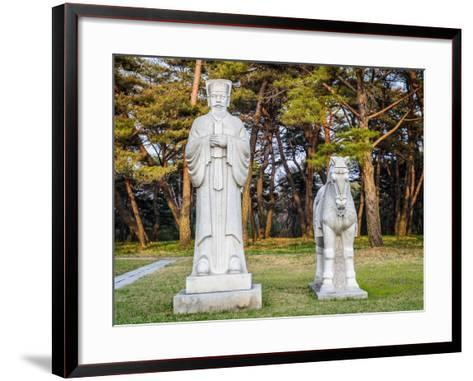 Scientifics and Horses Statues on the Road to the Tombs of Ancient Koguryo Kingdom, Pyongyang, Nort-siempreverde22-Framed Art Print