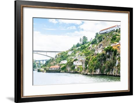 Architecture over the Coast of the River Douro in Porto, Portugal. View from the River Douro, One O-siempreverde22-Framed Art Print