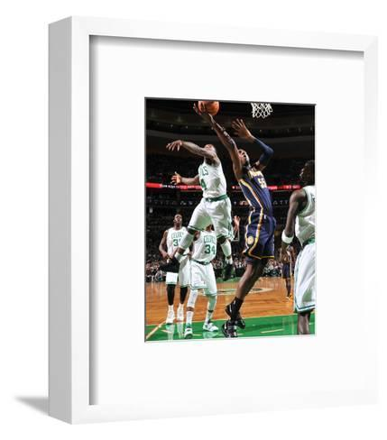 Indiana Pacers v Boston Celtics: Roy Hibbert and Nate Robinson-Brian Babineau-Framed Art Print