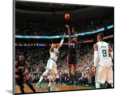 Miami Heat v Boston Celtics - Game Four, Boston, MA - MAY 9: LeBron James and Paul Pierce-Brian Babineau-Mounted Photo