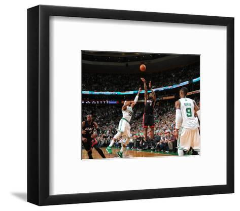 Miami Heat v Boston Celtics - Game Four, Boston, MA - MAY 9: LeBron James and Paul Pierce-Brian Babineau-Framed Art Print