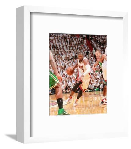 Boston Celtics v Miami Heat - Game Five, Miami, FL - MAY 11: Dwyane Wade and Delonte West-Victor Baldizon-Framed Art Print
