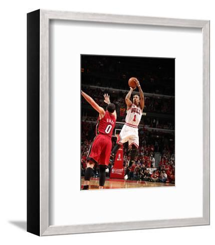 Miami Heat v Chicago Bulls - Game Five, Chicago, IL - MAY 26: Derrick Rose and Mike Bibby-Nathaniel S. Butler-Framed Art Print