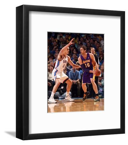 Mar 13, 2014, Los Angeles Lakers vs Oklahoma City Thunder - Pau Gasol-Layne Murdoch-Framed Art Print