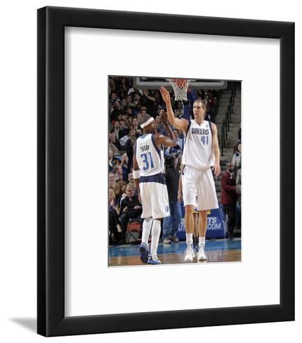 Golden State Warriors v Dallas Mavericks: Dirk Nowitzki and Jason Terry-Glenn James-Framed Art Print