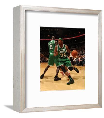 Boston Celtics v Toronto Raptors: Paul Pierce and Kevin Garnett-Ron Turenne-Framed Art Print