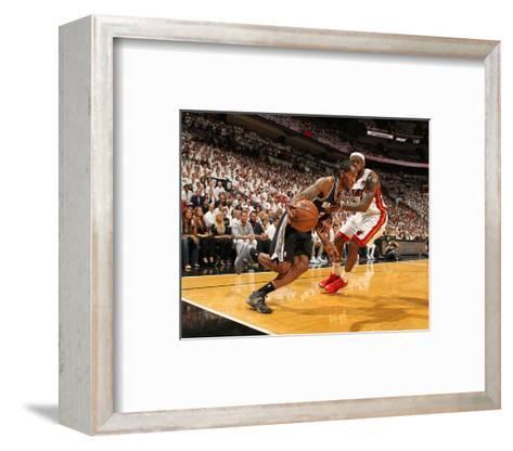 Miami, FL - June 20: Kawhi Leonard and LeBron James-Issac Baldizon-Framed Art Print