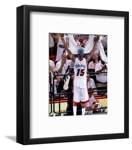 Miami, FL - June 21:  Miami Heat and Oklahoma City Thunder Game Five, Mario Chalmers-Mike Ehrmann-Framed Art Print