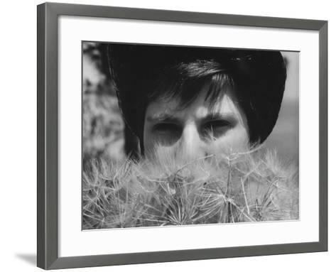 Woman's Face Hidden by Dandelions--Framed Art Print