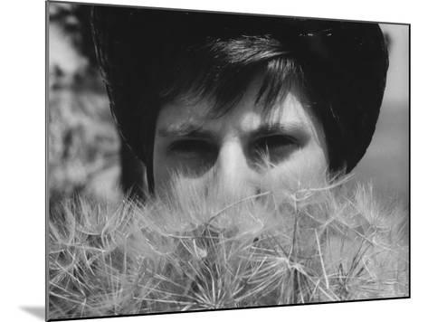 Woman's Face Hidden by Dandelions--Mounted Photographic Print