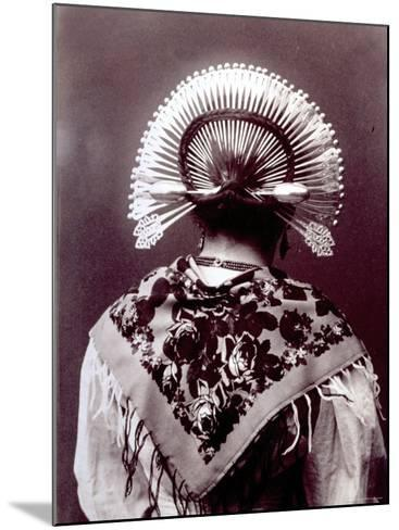 Half-Length Portrait from Behind of a Woman in a Typical Regional Costume of the Alta Brianza--Mounted Photographic Print