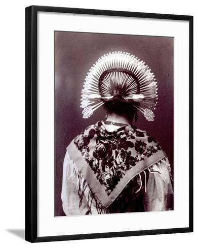 Half-Length Portrait from Behind of a Woman in a Typical Regional Costume of the Alta Brianza--Framed Art Print