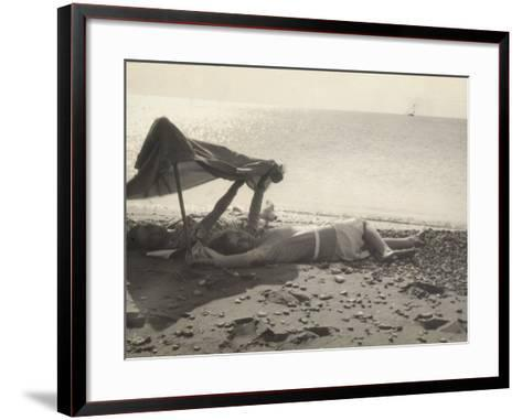 Two Women Lying on the Sea Shore in the Shade of a Towel-Ludovico Pacho-Framed Art Print