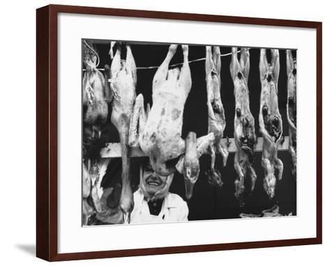 Chickens and Rabbits Exposed in a Butcher Shop-Vincenzo Balocchi-Framed Art Print