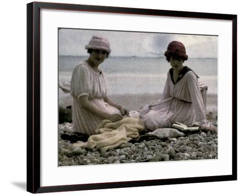 Two Women Sitting on the Beach-Henrie Chouanard-Framed Art Print