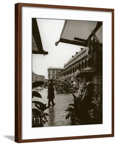 Stands and a Bookstall Keeper in Front of the Palazzo Della Ragione, in Padua-A^ Villani-Framed Art Print