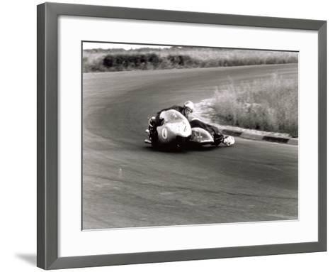 Two Motorcyclists in a Race, on a Two Seater Motorcycle-A^ Villani-Framed Art Print