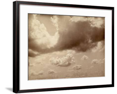 Stretch of Sky with Large Clouds. the Silhouette of the Hills Can be Made out Below--Framed Art Print