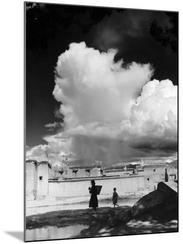Monsoon Clouds Over the Houses of Gyantse, Tibet--Mounted Photographic Print